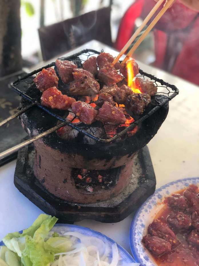 Grilling Bò Lạc Cảnh, a Nha Trang food, Vietnam