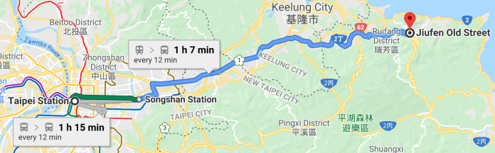 Direction from Taipei Main Station to Jiufen Old Street