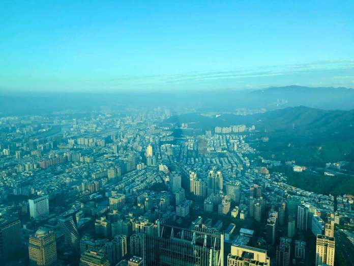 view of Taipei city from Taipei 101's Observatory