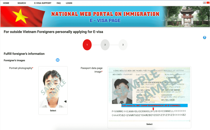 Online application form for Vietnam e-visa