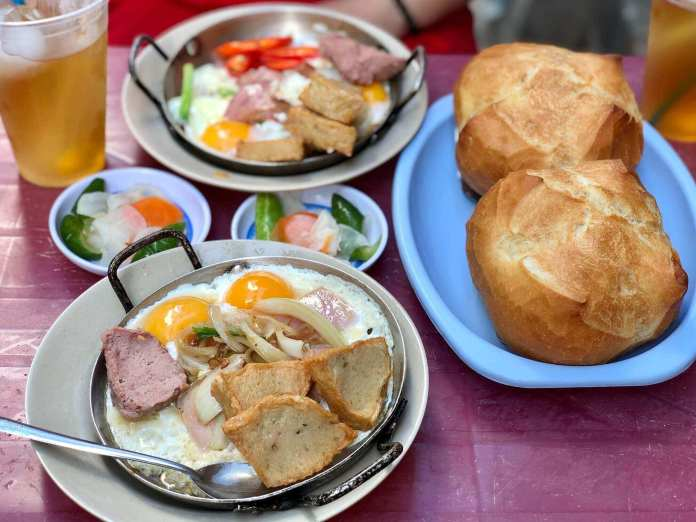 Breakfast in Ho Chi Minh City with banh mi and egg