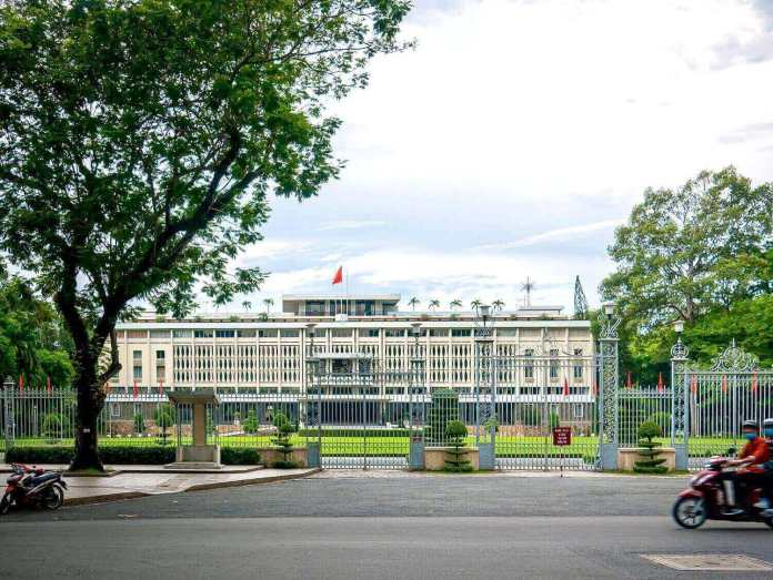 The maingate of Independence Palace, or Reunification Palace, on Nam Ky Khoi Nghia street