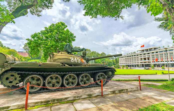 The tank that hit the Independence Palace's main gate on Apr 30, 1975