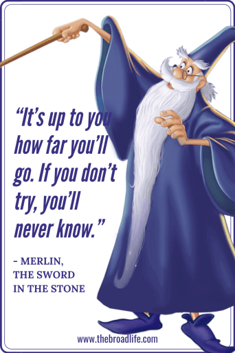"""It's up to you how far you'll go. If you don't try, you'll never know."" - Merlin's travel quote in The Sword in the Stone"