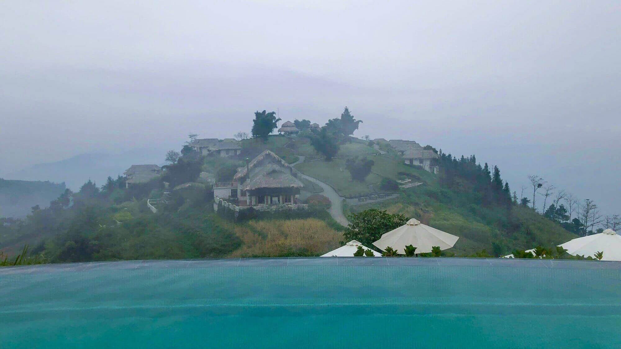 View from Topas Ecolodge pool to the lodge's center