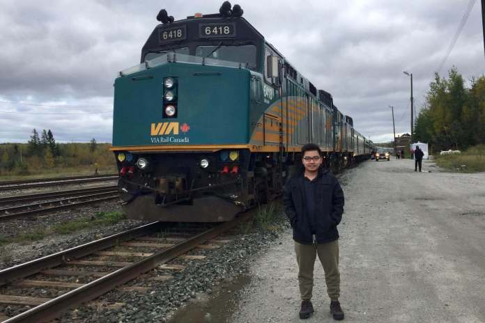 The train started to travel from toronto and stopped at Hornepayne for passenger to walk around and explore the place