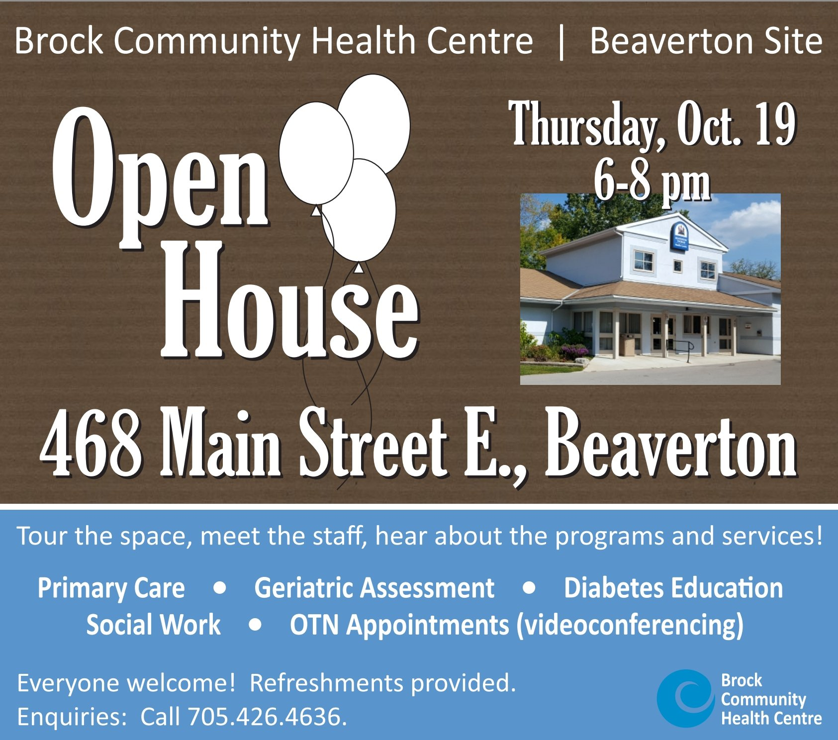 Residents invited to Brock Community Health Centre open house