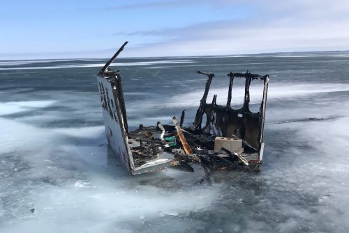 Police investigating after ice hut burns on Lake Simcoe