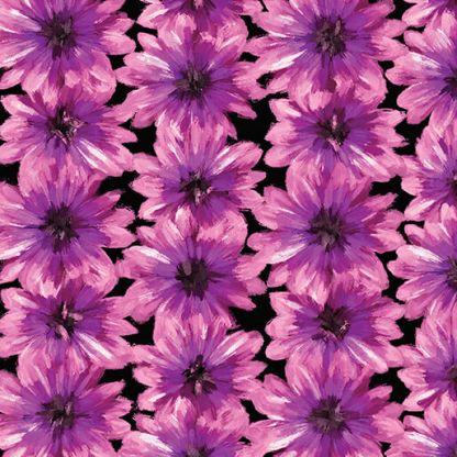 BLOOMING FLOWERS Black - Violet 7821-62