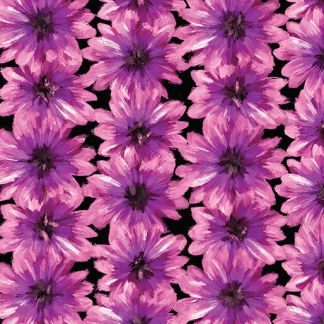 BLOOMING FLOWERS Black - Violet 7821-62