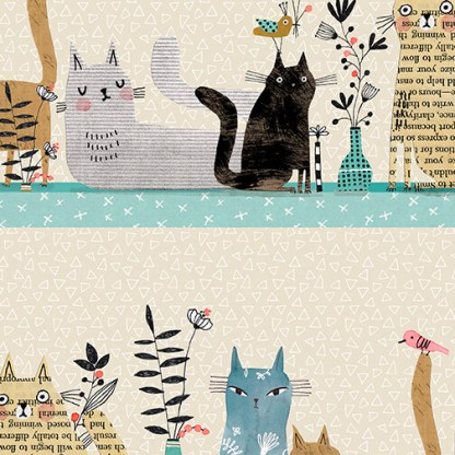 It's Raining Cats and Dogs by Terry Runyan - Cats Together - Multi Stripe