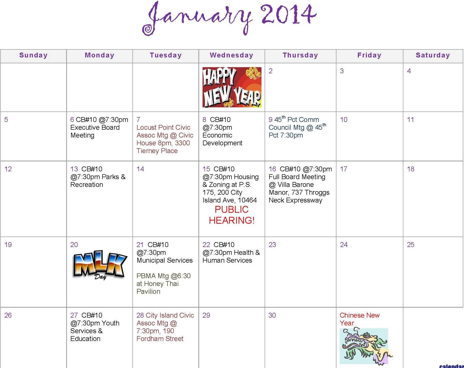 Community Board 10 Meeting Schedule