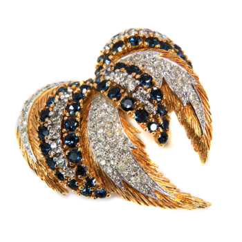 monet gold and blue swirl brooch