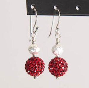 ruby red sparkler earrings