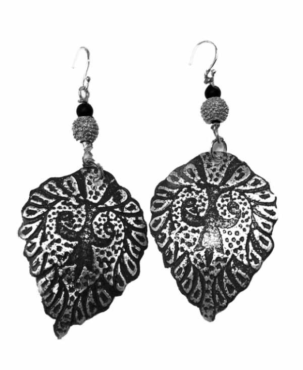 Arabesque etched sterling earrings