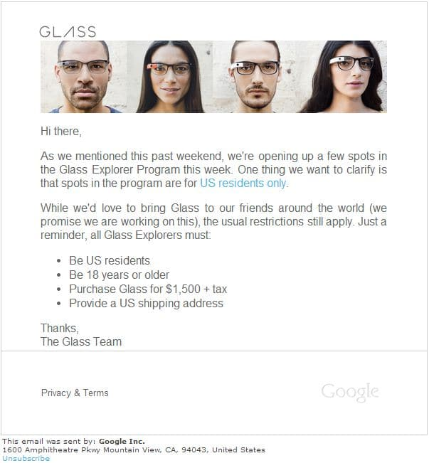 Email from Google Glass Team