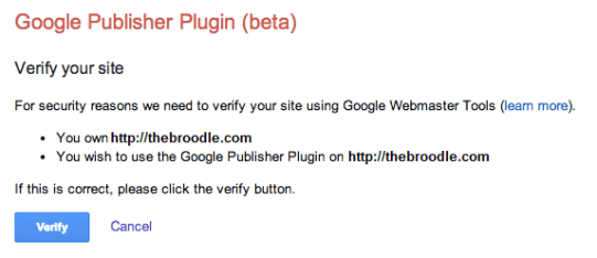 Google Publisher Plugin Asking for Verification