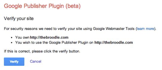 Google Publisher Plugin Asking for Verification