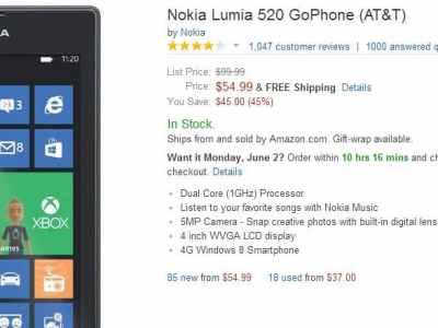 Nokia Lumia 520 for $55 on Amazon