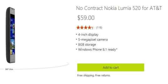 Nokia Lumia 520 for $59 on Microsoft Store