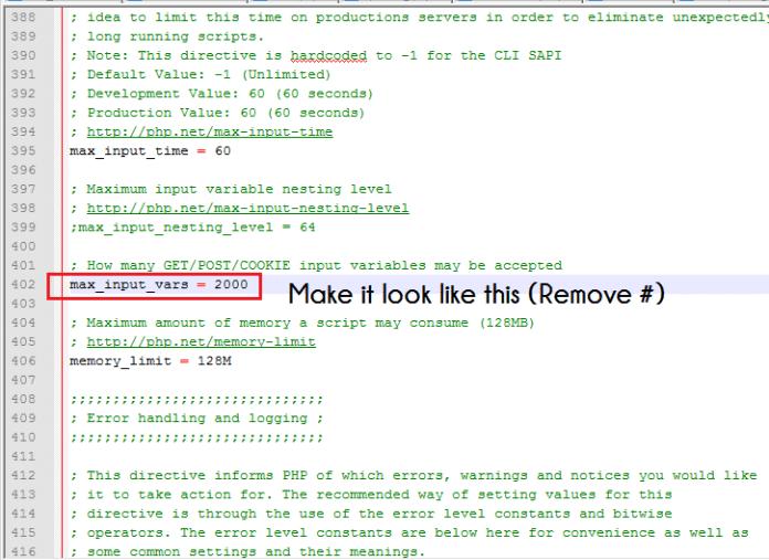 max_input_vars in PHP ini