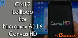 CM 12 Android 5.0 Lollipop for Micromax Canvas HD A116