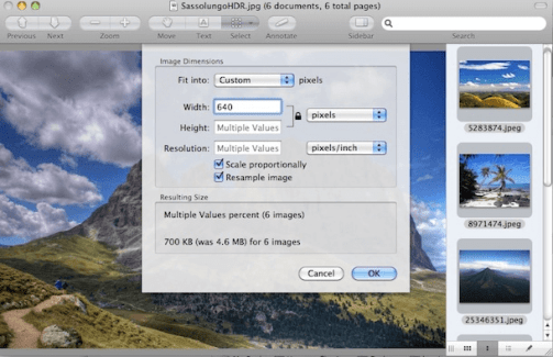 How to resize image at a time in mac