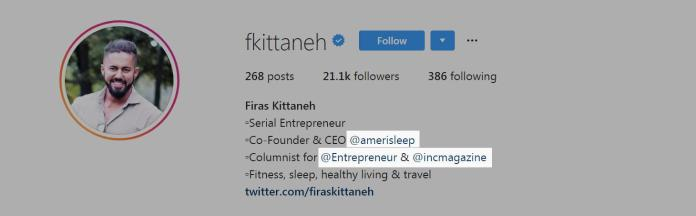 Instagram Profile bio