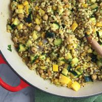 Spicy Israeli Couscous with Summer Squash