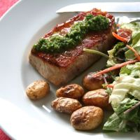 Seared Pork Chops with Garlic Scape Chimichurri