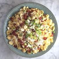 Orecchiette with Corn, Bacon, & Parmesan