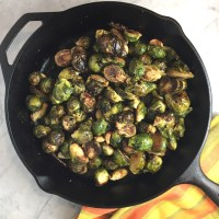 Skillet Roasted Brussels Sprouts with Garlic & Balsamic Vinegar