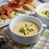 Chilled Corn Soup with Tomato-Bacon Toasts