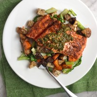Charmoula-Spiced Salmon with Za'atar Roasted Vegetables
