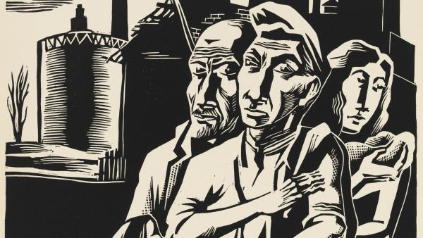 Mitchell Siporin,  'Workers Family, woodcut, 1937