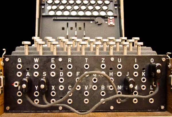 The plugboard of an Enigma machine, showing two pairs of letters swapped: S?O and J?A. During World War II, ten plugboard connections were made. The plugboard (Steckerbrett) is positioned at the front of the machine, below the keys. When in use, there can be up to 13 connections.
