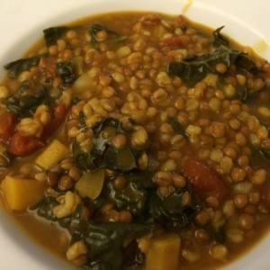 Slow Cooker Lentil, Barley, Kale Soup