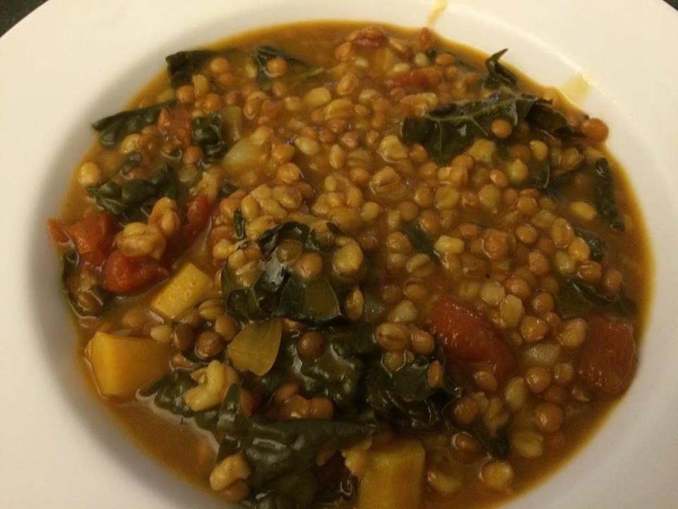Lentil, Barley, Kale Soup