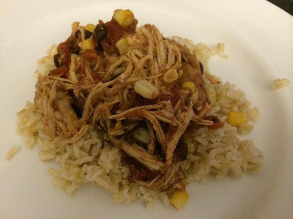 Slow cooker Mexican chicken over brown rice