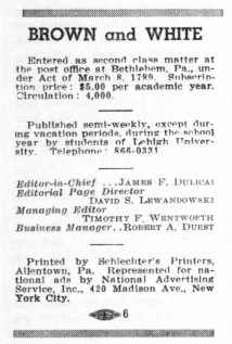 Durst listed as business manager on <em>The Brown and White's</em> masthead on Sept. 18, 1964.
