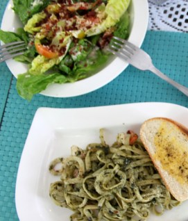 Caesar Salad and Aglio Olio
