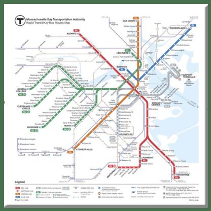 MBTA Rapid Transit Map Magnet
