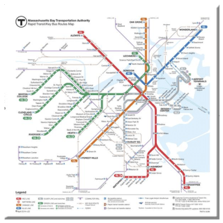 MBTA Rapid Transit Map Magnet