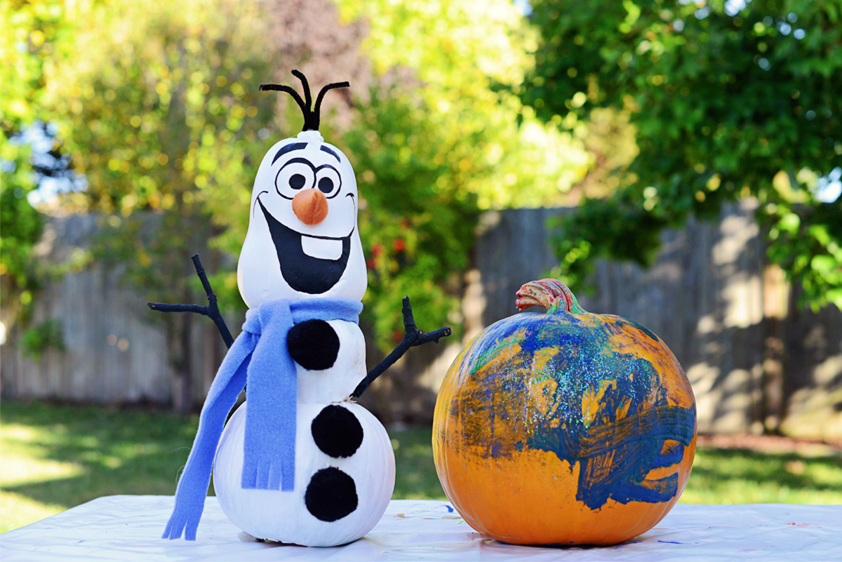 Fall Fun, Painting Pumpkins: Olaf, Frozen.