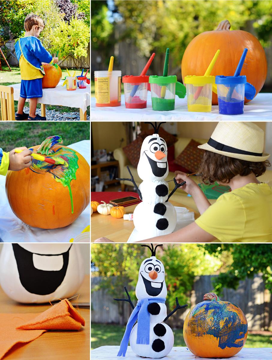 Fall Fun, Painting Pumpkins: Olaf, Frozen.