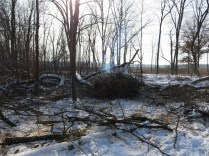 The first pile burning down