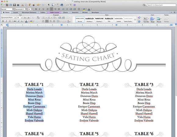 Wedding Seating Plan Template Word Wedding Invitation Sample – Seating Plan Template Word