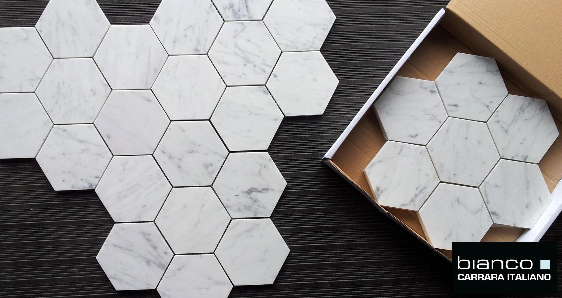 5 hexagon marble mosaic tile