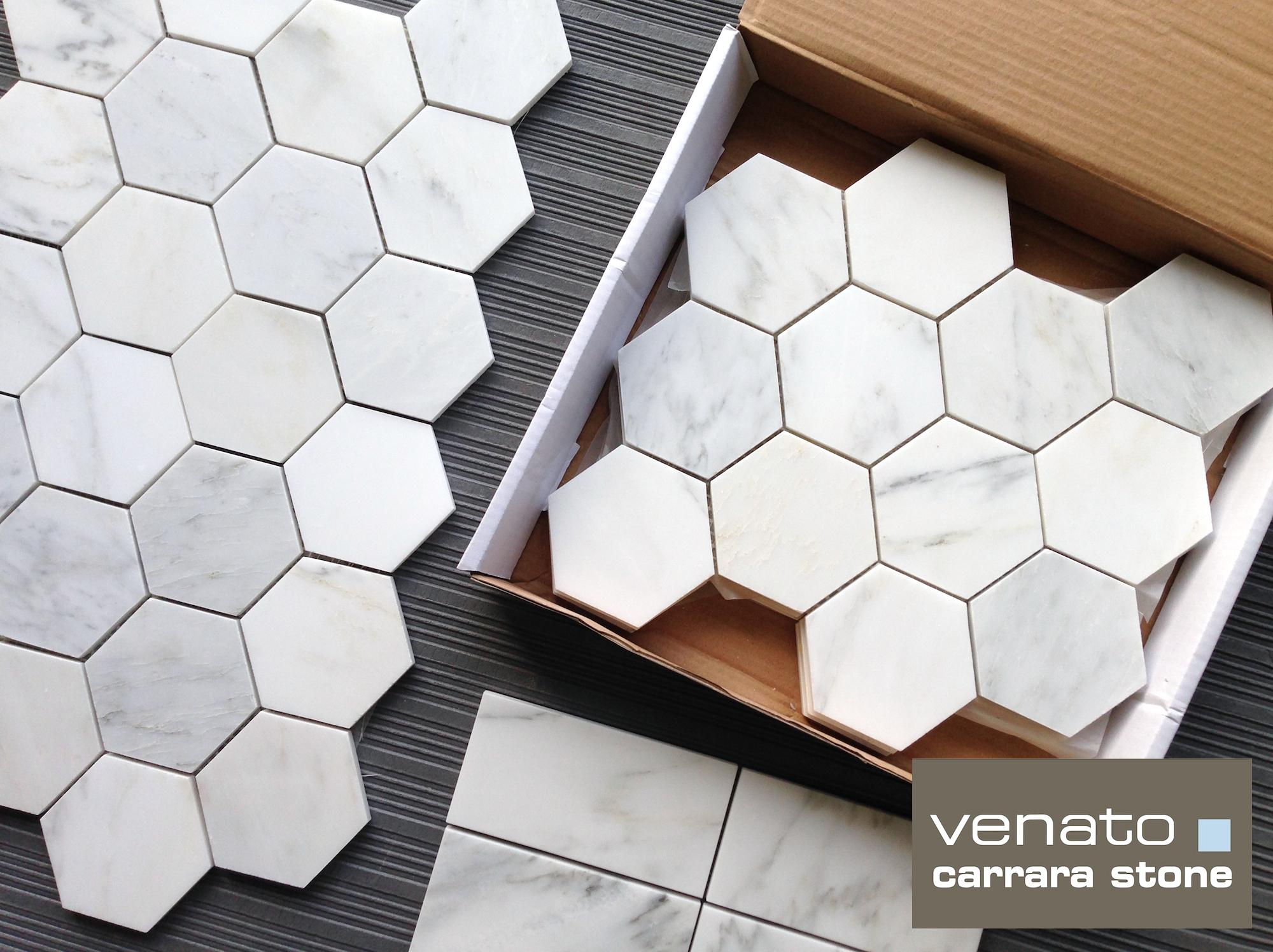 carrara venato 4 4 hexagon mosaic
