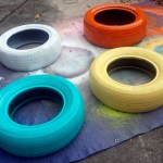 spray painting recycled tires